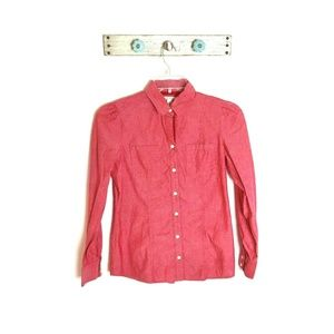 Banana Republic 8 Distressed Pink Oxford Shirt